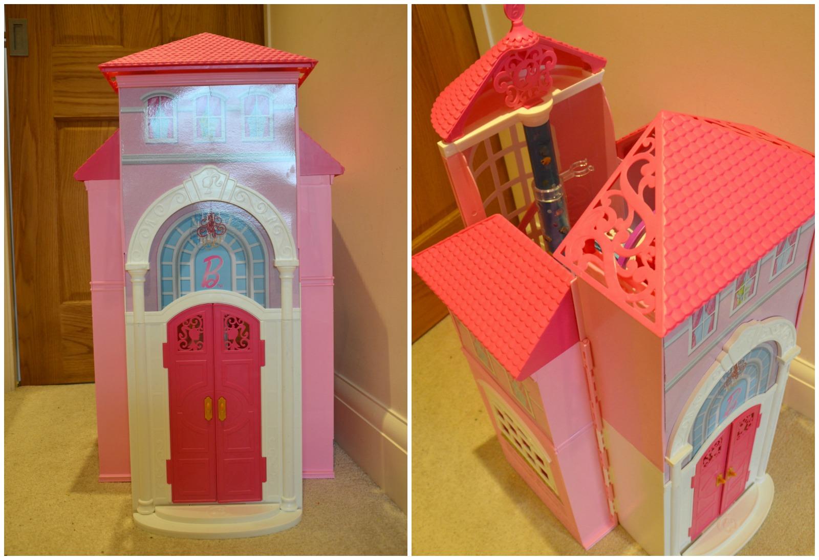 folded barbie malibu house