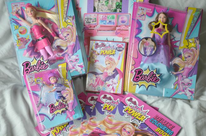 We Were Supplied With Some Goodies From The New Range Of Princess Power A Barbie Super Sparkle Doll Corinne And Chelsea Colouring Books