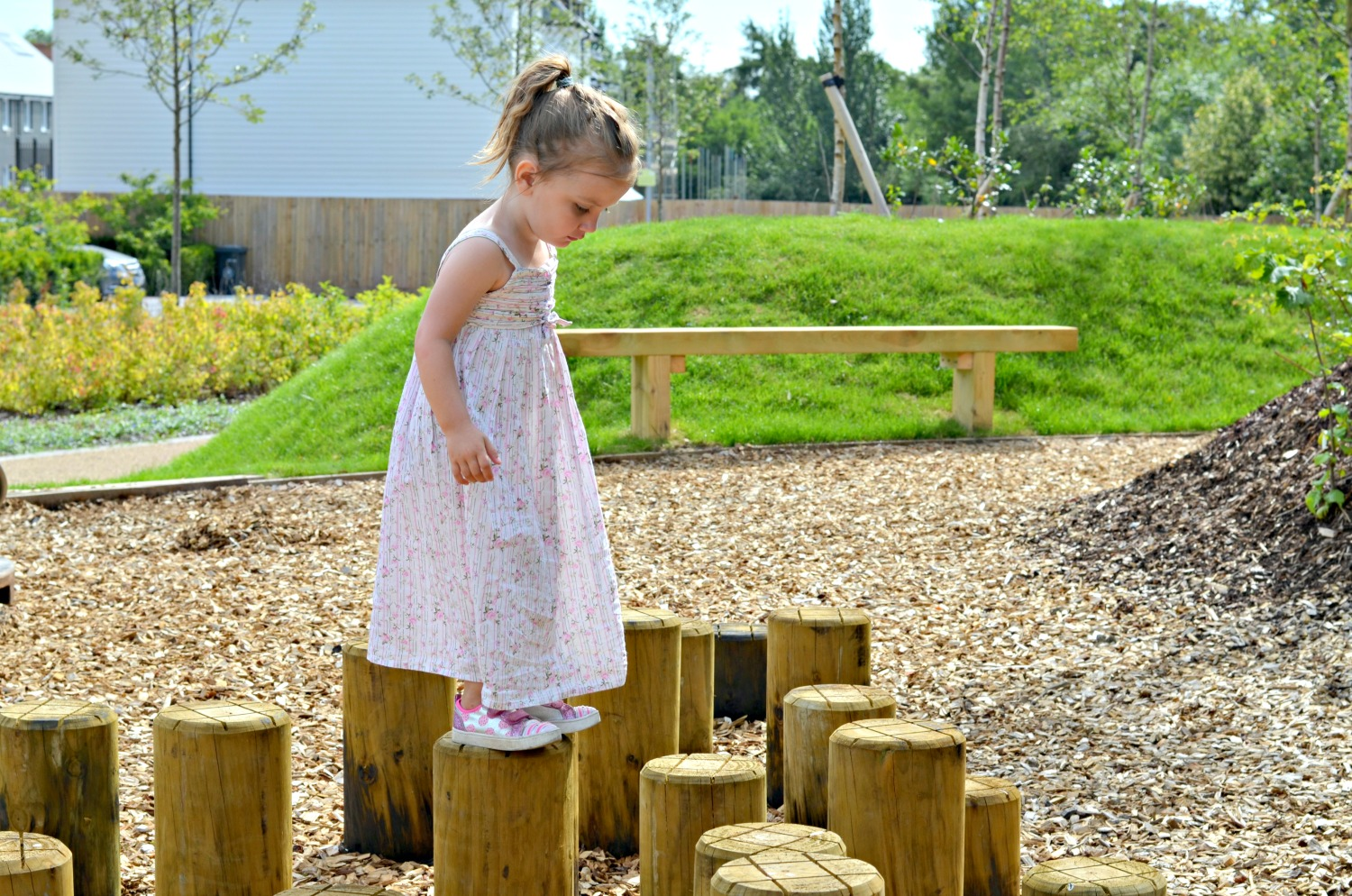 stepping stones, play, children, happy, adventure, family, parenting, summer dress, sun cream, walk
