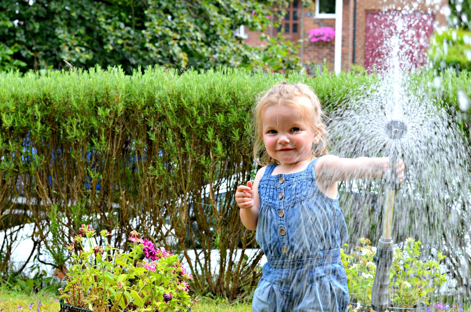 water fun, sprinkler, hose, toddler, third daughter, smile, children, family, garden, adventure